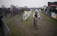 World Champion Wout Van Aert (BEL/Crelan-Vastgoedservice) moving back into the race after a mechanical<br /> <br /> Noordzeecross - Middelkerke 2016