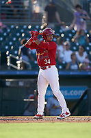 Palm Beach Cardinals Ivan Herrera (34) at bat during a Florida State League game against the Clearwater Threshers on August 10, 2019 at Roger Dean Chevrolet Stadium in Jupiter, Florida.  Clearwater defeated Palm Beach 11-4.  (Mike Janes/Four Seam Images)