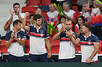 The Hague, The Netherlands, September 17, 2017,  Sportcampus , Davis Cup Netherlands - Chech Republic, Fifth match : Lukas Rosol (CZE) gets support from his team members<br /> Photo: Tennisimages/Henk Koster