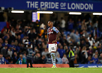 22nd September 2021; Stamford Bridge, Chelsea, London, England; EFL Cup football, Chelsea versus Aston Villa; Ashley Young of Aston Villa hands in hips in disappointment after Reece James of Chelsea scores the winning penalty during the penalty shootout to beat Aston Villa