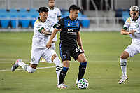 SAN JOSE, CA - SEPTEMBER 19: Julio Cascante #18 of the Portland Timbers and Andy Rios #25 of the San Jose Earthquakes during a game between Portland Timbers and San Jose Earthquakes at Earthquakes Stadium on September 19, 2020 in San Jose, California.