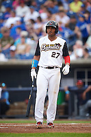 Quad Cities River Bandits first baseman Dexture McCall (27) at bat during a game against the Bowling Green Hot Rods on July 24, 2016 at Modern Woodmen Park in Davenport, Iowa.  Quad Cities defeated Bowling Green 6-5.  (Mike Janes/Four Seam Images)