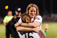Portland Thorns head coach Cindy Parlow Cone celebrates with defender Rachel Buehler (16) after the match. The Portland Thorns defeated the Western New York Flash 2-0 during the National Women's Soccer League (NWSL) finals at Sahlen's Stadium in Rochester, NY, on August 31, 2013.