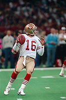 NEW ORLEANS, LA - Quarterback Joe Montana of the San Francisco 49ers in action during Super Bowl XXIV against the Denver Broncos at the Superdome in New Orleans, Louisiana on January 28, 1990. Photo by Brad Mangin