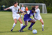 Texas State midfielder Maddie Nichols (15), defender Ali Jones (14) and TCU forward Kela Gray (24) during NCAA soccer game, Friday, September 12, 2014 in San Marcos, Tex. TCU defeated Texas State 1-0. (Mo Khursheed/TFV Media via AP Images)