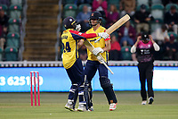 Aron Nijjar and Jack Plom celebrate victory for Essex during Somerset vs Essex Eagles, Vitality Blast T20 Cricket at The Cooper Associates County Ground on 9th June 2021