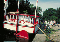 canal boat with tourists at historic Roscoe Village, OH. Coshocton Ohio USA.