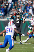 Jacksonville Jaguars quarterback Blake Bortles (5) passes during an NFL Wild-Card football game against the Buffalo Bills, Sunday, January 7, 2018, in Jacksonville, Fla.  (Mike Janes Photography)