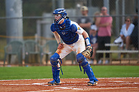 Pitt Panthers catcher Riley Wash (33) waits for a throw during the teams opening game of the season against the Indiana State Sycamores on February 19, 2021 at North Charlotte Regional Park in Port Charlotte, Florida.  (Mike Janes/Four Seam Images)