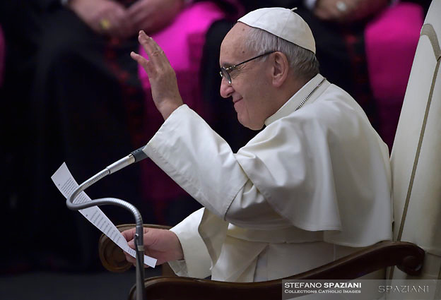 Pope Francis during his weekly general audience at the Paul VI hall at the Vatican, Wednesday.14 december 2016