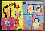 Education Elementary Grade 3 art work by 8 year old girl cut and torn paper collage