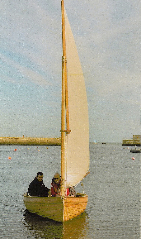 A Droleen sailing in Bray Harbour in County Wicklow