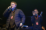 © Joel Goodman - 07973 332324 . No Editorial syndictaion permitted . 09/09/2017. Manchester , UK . Ricky Hatton , Anthony Crolla on the stage . We Are Manchester reopening charity concert at the Manchester Arena with performances by Manchester artists including  Noel Gallagher , Courteeners , Blossoms and the poet Tony Walsh . The Arena has been closed since 22nd May 2017 , after Salman Abedi's terrorist attack at an Ariana Grande concert killed 22 and injured 250 . Money raised will go towards the victims of the bombing . Photo credit : Joel Goodman