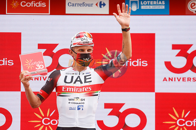 Rafal Majka (POL) UAE Team Emirates wins Stage 15 of La Vuelta d'Espana 2021, running 197.5km from Navalmoral de la Mata to El Barraco, Spain. 29th August 2021.     <br /> Picture: Luis Angel Gomez/Photogomezsport | Cyclefile<br /> <br /> All photos usage must carry mandatory copyright credit (© Cyclefile | Luis Angel Gomez/Photogomezsport)