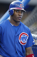 Roosevelt Brown of the Chicago Cubs before a 2002 MLB season game against the Los Angeles Dodgers at Dodger Stadium, in Los Angeles, California. (Larry Goren/Four Seam Images)
