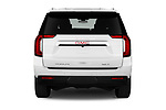 Straight rear view of 2021 GMC Yukon-XL SLT 5 Door SUV Rear View  stock images