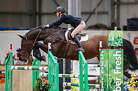 NZL-Sophia Blackbourn rides Octavia MVNZ. Class 22: Sky Sort Next Horse 1.30m Ranking Class. 2021 NZL-Easter Jumping Festival presented by McIntosh Global Equestrian and Equestrian Entries. NEC Taupo. Saturday 3 April. Copyright Photo: Libby Law Photography