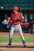Brandon Marsh (36) of the Orem Owlz bats against the Ogden Raptors at Lindquist Field on September 10, 2017 in Ogden, Utah. Ogden defeated Orem 9-4. (Stephen Smith/Four Seam Images)