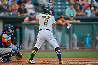 Jose Rojas (8) of the Salt Lake Bees at bat against the Las Vegas Aviators at Smith's Ballpark on July 20, 2019 in Salt Lake City, Utah. The Aviators defeated the Bees 8-5. (Stephen Smith/Four Seam Images)