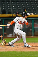 Nolan Fontana (4) of the Fresno Grizzlies at bat against the Salt Lake Bees in Pacific Coast League action at Smith's Ballpark on April 13, 2016 in Salt Lake City, Utah. The Grizzlies defeated the Bees 6-0. (Stephen Smith/Four Seam Images)