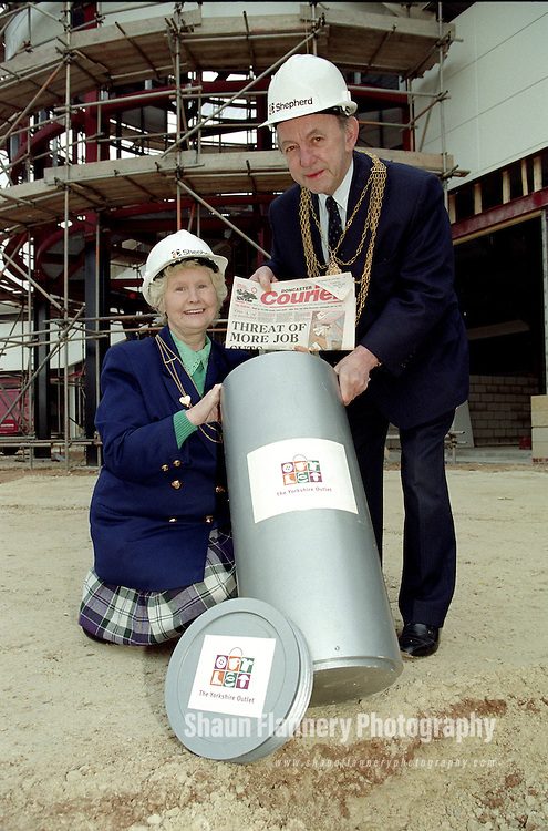 Pix: Shaun Flannery/shaunflanneryphotography.com...COPYRIGHT PICTURE>>SHAUN FLANNERY>01302-570814>>07778315553>>..28th March 1996..Doncaster Mayor Andy Lanaghan prepares to bury a time capsule during the construction of The Yorkshire Outlet, now Lakeside Village in Doncaster.