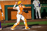 Tennessee Volunteers catcher Connor Pavolony (17) throws down to third base following a strikeout against the LSU Tigers on Robert M. Lindsay Field at Lindsey Nelson Stadium on March 26, 2021, in Knoxville, Tennessee. (Danny Parker/Four Seam Images)