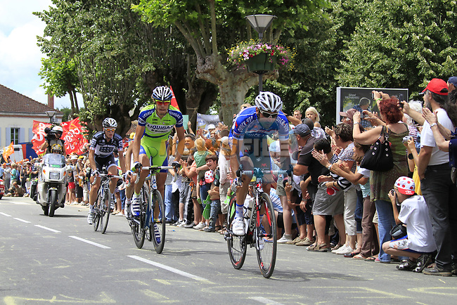 The breakaway group including Jerome Pineau (FRA) Quick-Step, Daniel Oss (ITA) Liquigas-Doimo and Matti Breschel (DEN) Saxo Bank pass through the village of Sabres during Stage 18 of the 2010 Tour de France running 198km from Salies-de-Bearn to Bordeaux, France. 23rd July 2010.<br /> (Photo by Eoin Clarke/NEWSFILE).<br /> All photos usage must carry mandatory copyright credit (© NEWSFILE | Eoin Clarke)