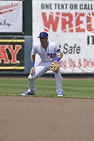 Iowa Cubs second baseman Ian Happ (8) in action during a game against the Round Rock Express at Principal Park on April 16, 2017 in Des  Moines, Iowa.  The Cubs won 6-3.  (Dennis Hubbard/Four Seam Images)
