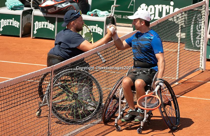 Paris, France, 7 june 2021, Tennis, French Open, Roland Garros, Quad  Wheelchair mens singles final:  Sam Schroder (NED) loosing the final to Dylan Alcott (L)<br /> Photo: tennisimages.com