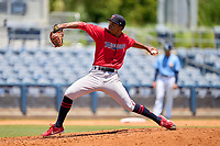 FCL Twins pitcher Wilker Reyes (50) during a game against the FCL Rays on July 20, 2021 at Charlotte Sports Park in Port Charlotte, Florida.  (Mike Janes/Four Seam Images)