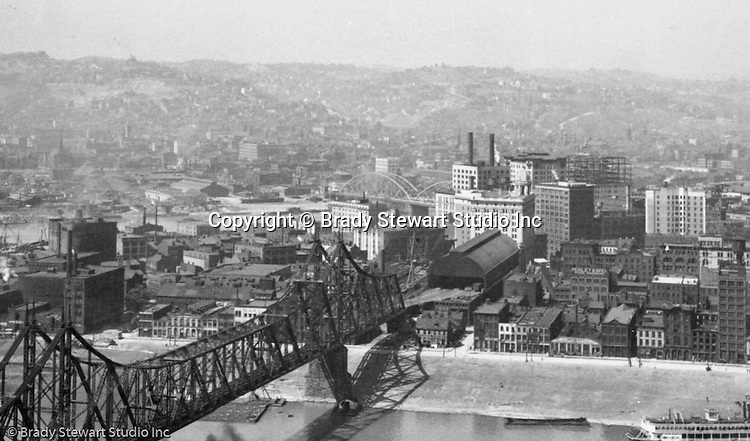 Pittsburgh PA - View of the Point Buildings, Wabash Railroad Bridge, Wabash Railroad Terminal, and adjacent Wabash RR Office Building from Mount Washington.