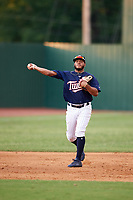 Elizabethton Twins shortstop Ricky De La Torre (7) throws to first base during a game against the Bristol Pirates on July 29, 2018 at Joe O'Brien Field in Elizabethton, Tennessee.  Bristol defeated Elizabethton 7-4.  (Mike Janes/Four Seam Images)