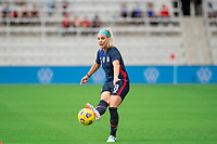 ORLANDO CITY, FL - FEBRUARY 21: Julie Ertz #8 of the USWNT passes the ball during a game between Brazil and USWNT at Exploria Stadium on February 21, 2021 in Orlando City, Florida.