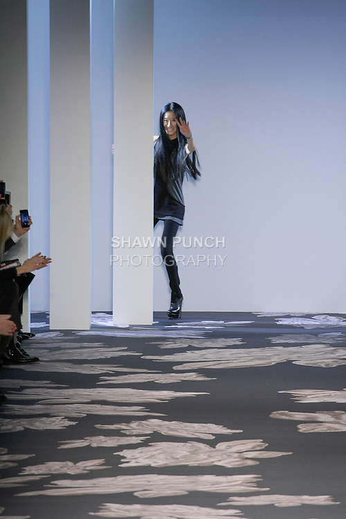 Fashion designer Vera Wang, thanks audience for attending her Vera Wang Fall 2013 collection runway show, during Mercedes-Benz Fashion Week New York Fall 2013.