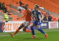 Blackpool's CJ Hamilton battles with Wigan Athletic's Tom Pearce<br /> <br /> Photographer Dave Howarth/CameraSport<br /> <br /> The EFL Sky Bet League One - Blackpool v Wigan Athletic - Tuesday 3rd November 2020 - Bloomfield Road - Blackpool<br /> <br /> World Copyright © 2020 CameraSport. All rights reserved. 43 Linden Ave. Countesthorpe. Leicester. England. LE8 5PG - Tel: +44 (0) 116 277 4147 - admin@camerasport.com - www.camerasport.com