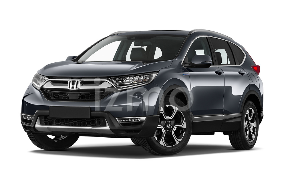 Stock pictures of low aggressive front three quarter view of 2020 Honda CR-V-Hybrid Executive-4wd 5 Door SUV Low Aggressive
