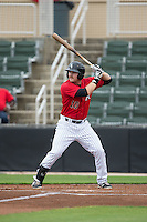 Mason Robbins (10) of the Kannapolis Intimidators at bat against the Hickory Crawdads at CMC-Northeast Stadium on April 17, 2015 in Kannapolis, North Carolina.  The Crawdads defeated the Intimidators 9-5 in game one of a double-header.  (Brian Westerholt/Four Seam Images)