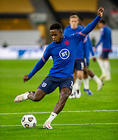13th October 2020; Molineux Stadium, Wolverhampton, West Midlands, England; UEFA Under 21 European Championship Qualifiers, Group Three, England Under 21 versus Turkey Under 21; Ryan Sessegnon of England with the ball at his feet takes a shot at goal during the warm up
