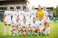 TACOMA, WA - JULY 31: Racing Louisville FC starting eleven before a game between Racing Louisville FC and OL Reign at Cheney Stadium on July 31, 2021 in Tacoma, Washington.