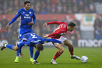 Joe Bennett of Cardiff City attempts to stop Matty Cash of Nottingham Forest during the Sky Bet Championship match between Nottingham Forest and Cardiff City at the City Ground, Nottingham, England on 30 November 2019. Photo by David Horn.