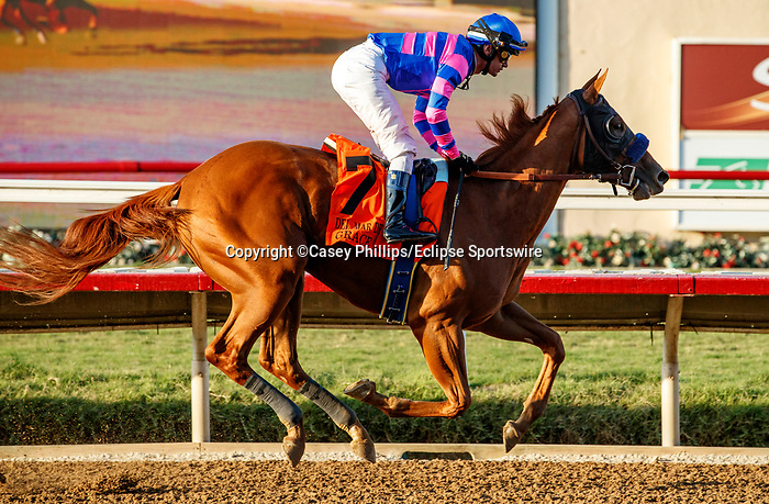DEL MAR, CA  SEPTEMBER 4:  #7 Grace Adler, ridden by Flavien Prat,is geared down and wins the TVG Del Mar Debutante (Grade l) giving trainer Bob Baffert his third straight Debutante win and tenth over on September 5, 2021 at Del Mar Thoroughbred Club in Del Mar, CA.(Photo by Casey Phillips/Eclipse Sportswire/CSM)