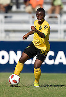 Jason Wright (10) of Jamaica sprints upfield during the quarterfinals of the CONCACAF Men's Under 17 Championship at Catherine Hall Stadium in Montego Bay, Jamaica. Jamaica defeated Honduras, 2-1.