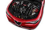 Car stock 2018 Alfa Romeo Giulia Quadrifoglio Base 4 Door Sedan engine high angle detail view