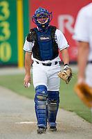 Burlington catcher Tom Hill (44) at Burlington Athletic Park in Burlington, NC, Sunday, August 26, 2007.