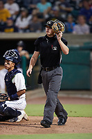 Charleston RiverDogs catcher Michael Bergland (15) and home plate umpire Matt Blackborow watch a pop fly during the Low-A East Championship game against the Down East Wood Ducks at Joseph P. Riley, Jr. Park on September 26, 2021 in Charleston, South Carolina. (Brian Westerholt/Four Seam Images)