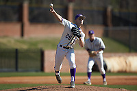 High Point Panthers relief pitcher Rion Murrah (29) makes a pick-off throw to first base during the game against the NJIT Highlanders at Williard Stadium on February 19, 2017 in High Point, North Carolina. The Panthers defeated the Highlanders 6-5. (Brian Westerholt/Four Seam Images)