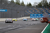 23rd August 2020, Lausitz Circuit, Klettwitz, Brandenburg, Germany. The Deutsche Tourenwagen Masters (DTM) race at Lausitz;  Lucas Auer AUT BMW Team RMR Crossing the finish line and taking the chequered flag