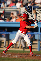 Batavia Muckdogs Outfielder Pat Biserta (5) at bat during a game vs. the Auburn Doubledays at Dwyer Stadium in Batavia, New York July 3, 2010.   Auburn defeated Batavia 4-0.  Photo By Mike Janes/Four Seam Images