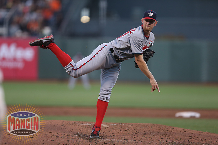 SAN FRANCISCO, CA - MAY 21:  Stephen Strasburg #37 of the Washington Nationals pitches against the San Francisco Giants during the game at AT&T Park on Tuesday, May 21, 2013 in San Francisco, California. Photo by Brad Mangin