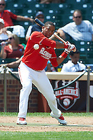 First baseman Domonic Smith #22 of Serra High School in Los Angeles, California during the home run derby before participating in the Under Armour All-American Game powered by Baseball Factory at Wrigley Field on August 18, 2012 in Chicago, Illinois.  (Mike Janes/Four Seam Images)